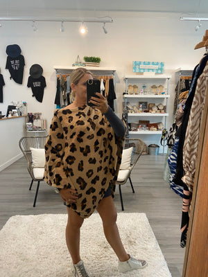 Leopard Fleece Poncho
