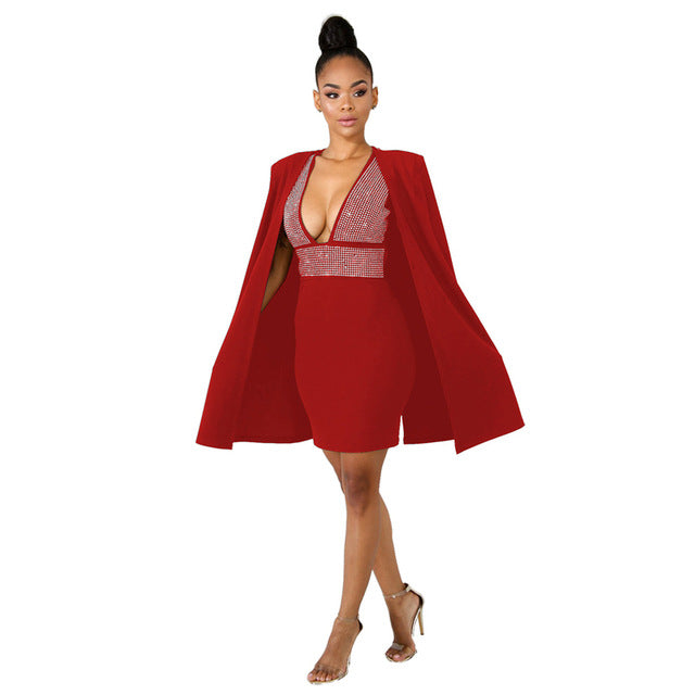 2018 Autumn Winter 2 Piece Set Women Trench Coat And Crystal Dress ...