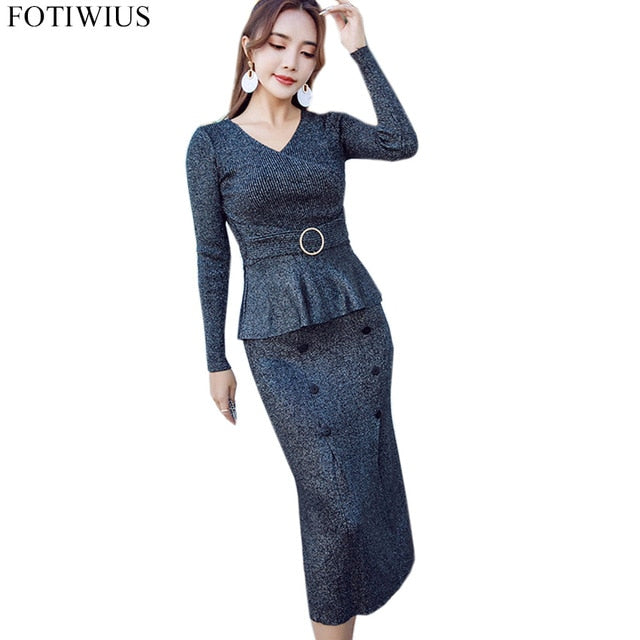 2018 Autumn Winter Knitted Sweater Sets Suit 2 Piece Set Women Two