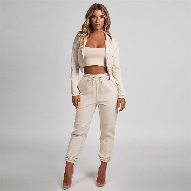 9ae5cf55aa1 2018 Autumn Women Casual Outfit Sweatsuits Long Sleeve Front Zippers Short  Top And Apricot Pants Two