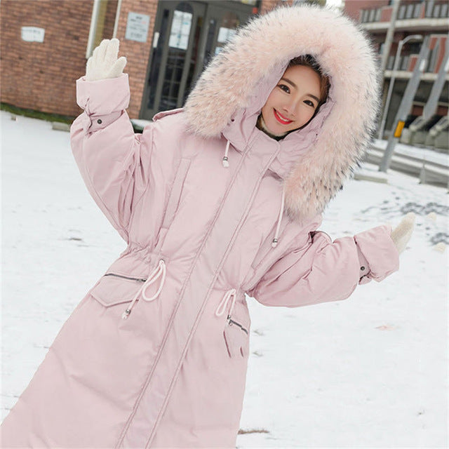 e749ea247ce 2018 Faux Fur Collar Long Parkas Down Cotton Jacket Winter Jackets Women  Thick Snow Wear Hooded Coat Lady Clothing Female A1155