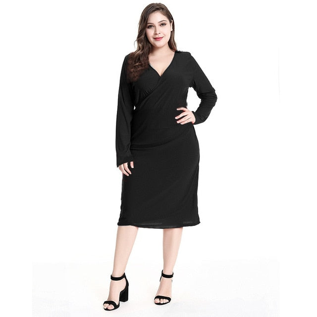 2018 Autumn V Neck Party Dress Plus Size 5Xl Knee-Length Dress Full Sleeved  Sashes Casual Dress Vestidos