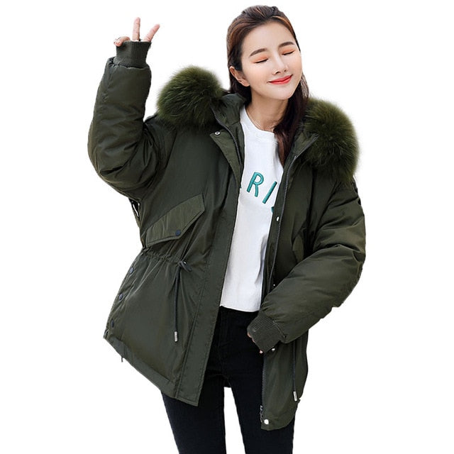 defef63d0 2018 New Fashion Big Fur Coat Winter Jacket Women Hooded Loose Down Cotton  Padded Jacket Coat Female Thick Down Parkas Outwear