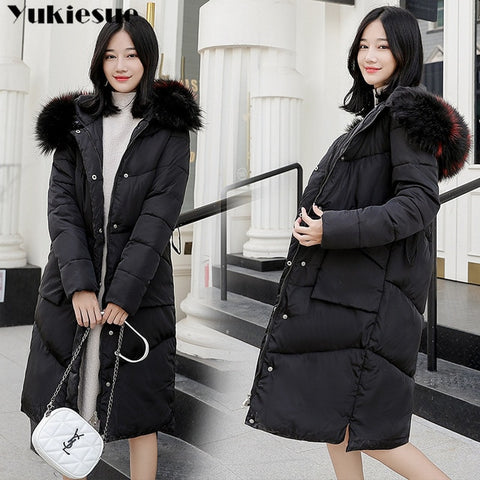 5a2d8a7b5be ... 2018 New winter jacket women long coat female ladies overcoat Parka fur  collar Cotton Padded Warm