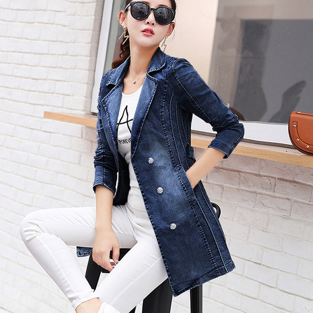 2018 Plus Size Long Denim Jacket Women New Autumn Vintage Cotton Jeans  Jacket Fashion Turn- 33cb379f7a