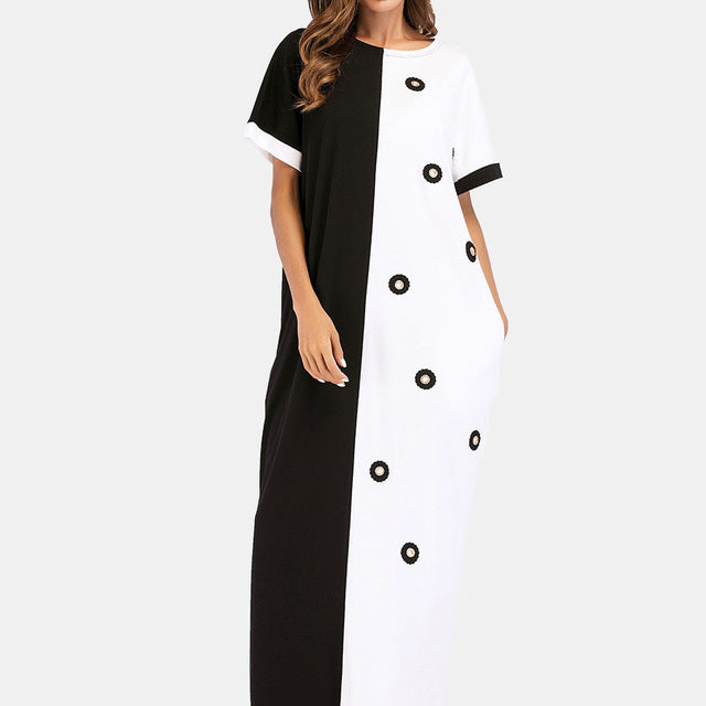 d0b33128c0e 2018 Summer Women Casual Short Sleeve Maxi Dress Loose Plus Size 4Xl Dress  Color Block Long