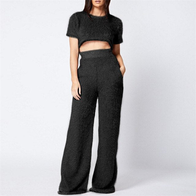75fe34707bb 2018 Women Fashion Sexy Warm thick two piece set tracksuit Lady elegant Crop  Tops pants casual sweat suits fitness autumn outfit