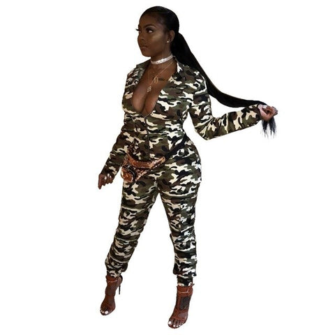 720ca345c0b ... 2018 camouflage Print Autumn Winter women Overalls Jumpsuits V-Neck Full  Sleeve Outfit casual sexy