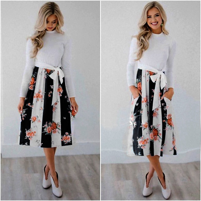 47e82289d 2019 Autumn Winter Floral Dress Women Long Sleeve Patchwork Maxi Dresses  Vintage Boho Casual Lace Up Vestidos