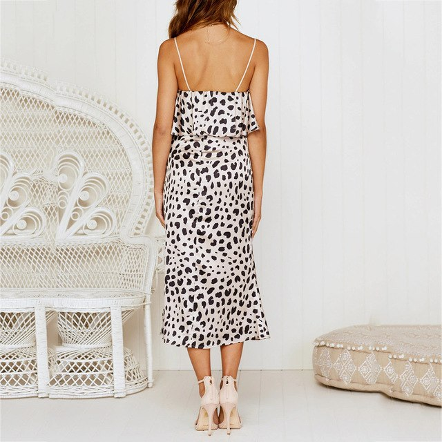 d858a71eadfc 2019 Spaghetti Strap Dress Holiday Summer Fit Flare Leopard Print  Sleeveless Party Beach Casual V Neck Dress