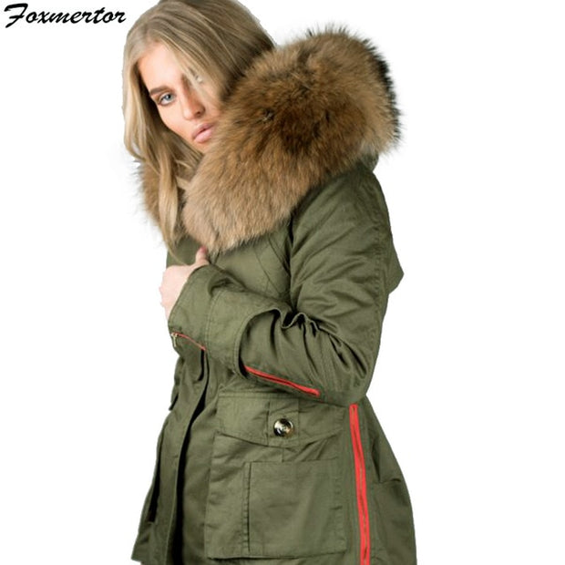 26d92ad5b 2019 Women Winter Jacket Large Raccoon Fur Collar Thick Warm Coat Army  Green Black Parkas Hooded Padded Outwear