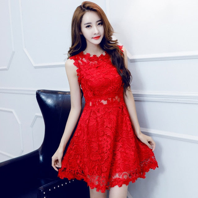 48547be0e16 2019 Summer Red Lace Dress Women Sleeveless Casual Retro Sundress  Embroidered Mini Beach Party Dresses Vestidos C3097