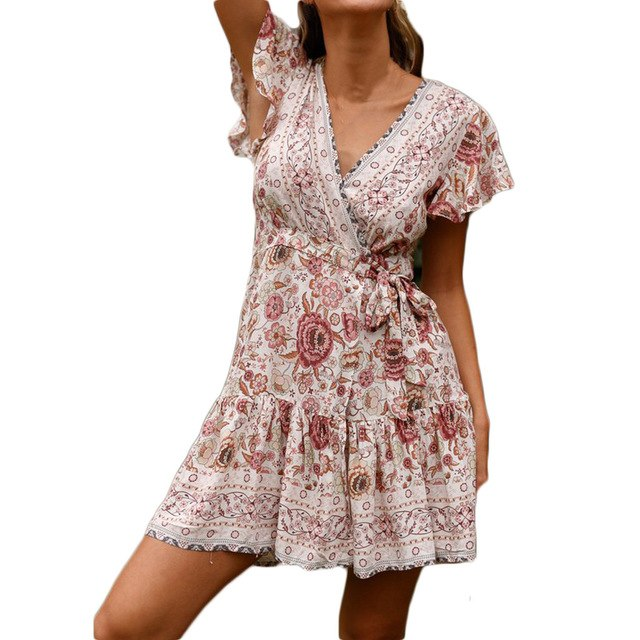 8cf97e42140 2019 Trendy Bohemian Dress Women Casual High Waist Boho Print V Neck Short  Sleeve National Midi Dress  C