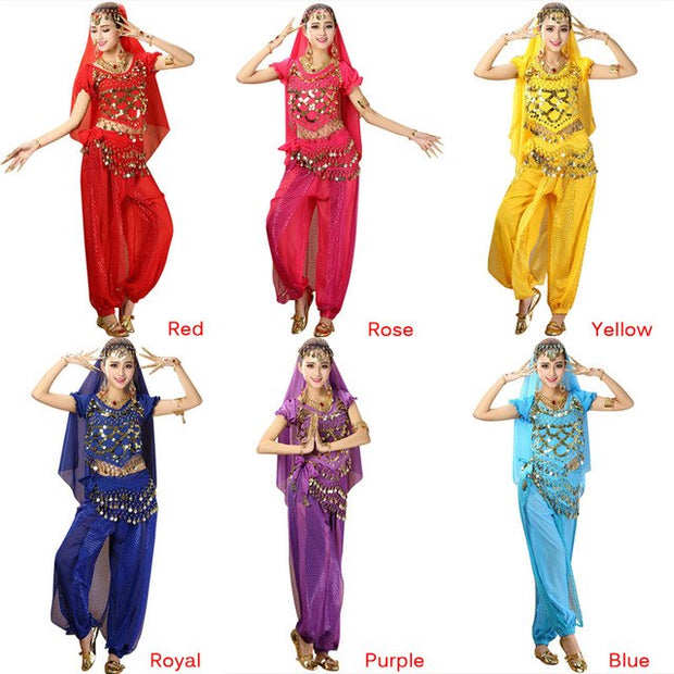 2Pcs/Set Indian Dance Costumes Bollywood Dress Dancewear
