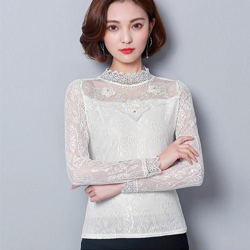 fa258736043 4Xl White Lace Blouse Women Long Sleeve Casual Shirt 2019 Spring Summer  Slim Tops Blouses Blusas Plus Size