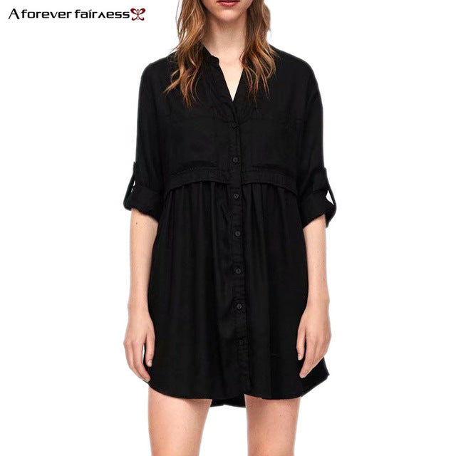 ac5bc5a8710 A Forever Spring Women Roll-Up Long Sleeve Vintage Black Dress V Neck  Double Pockets Shirt Casual Tunic Short Dress