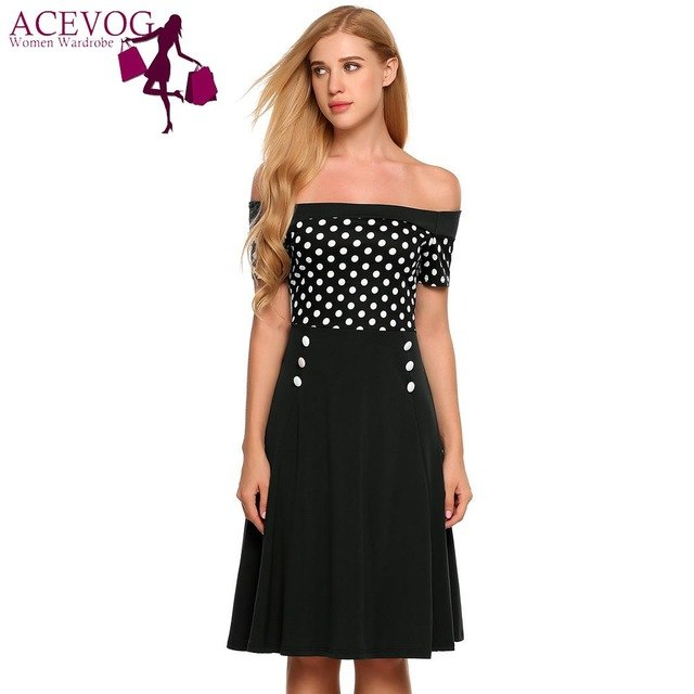 c71d8619e5 Beach Summer Dress Off Shoulder Dress Short Sleeve Dots Fit Flare Cocktail  Party Dress