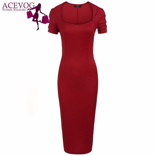 e3ae61b8d575 Vintage Dress Women Summer Autumn Square Neck Short Sleeve Solid Bodycon  Slim Party Pencil Long Dresses