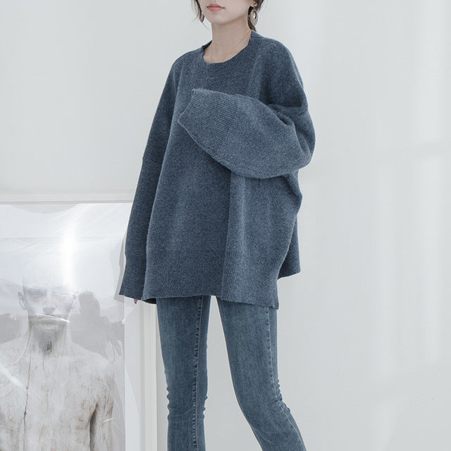 7fb0c111509 ... Women s Tops · Work Dresses · Aosheng 2018 Autumn Winter Round Neck Long  Batwing Sleeve Solid Color Thick Large Size Knitted Sweater