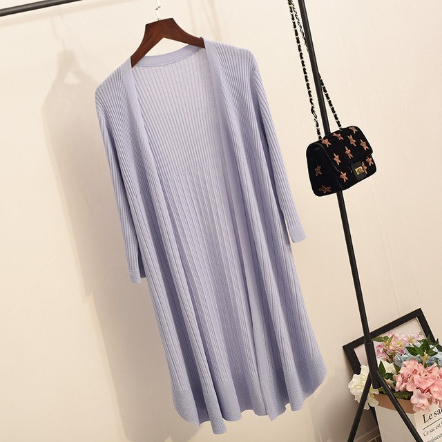 c1856e05ee62 Artificial Ice Silk Long Cardigan Jacket Women Summer Thin Knitted Sweater  Jumper Women Sueter Mujer White