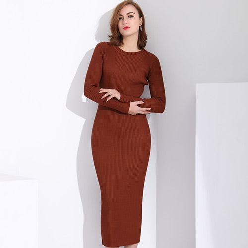 Autumn Knee Sweaters Round Neck Long Dress Plus Size Knitted Sweater ...
