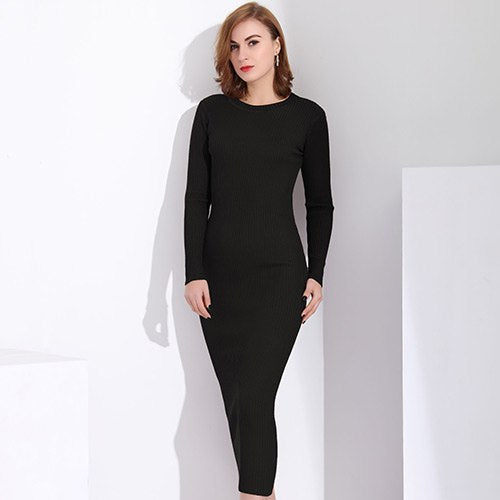 Autumn Knee Sweaters Round Neck Long Dress Plus Size Knitted Sweater  Dresses Long Sleeves Slim Elastic Skinny Women Dress