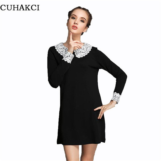 Autumn Lace Women Vertical Dress Work Wear Cloth Long Sleeve Solid ...
