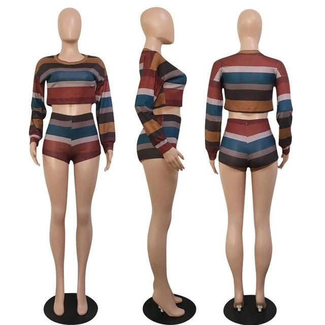 cc5187863a Autumn New Sexy Knitted Two Piece Set Women Clothes Crop Tops+Shorts Suits  Outfits Casual Stripe Sweater 2 Pcs Matching Sets