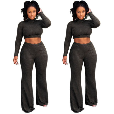 f549b28148a2 ... Autumn Winter Turtleneck Long Sleeve Crop Top Wide Leg Casual Pants  Knitted 2 Piece Set Rompers