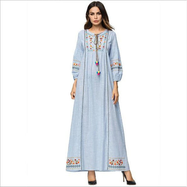 86adc10c13f Autumn Winter Urban floral embroidery maxi long dress ethnic Tassel  drawstring robe femme ete 2018 Party Retro Dress QC647