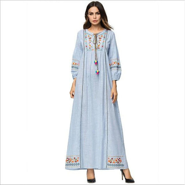 taille 40 3ed82 8bcf8 Autumn Winter Urban floral embroidery maxi long dress ethnic Tassel  drawstring robe femme ete 2018 Party Retro Dress QC647