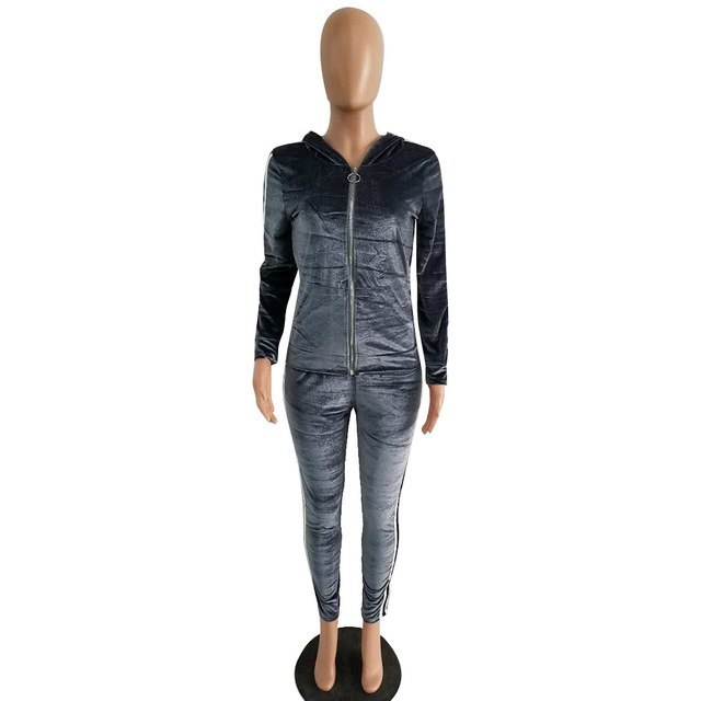 c7eaf1249dcb Autumn Winter Velour Two Piece Set Women Side Striped Long Sleeve  Tops+Pants Casual Home Outfits Hooded Velvet jumpsuits