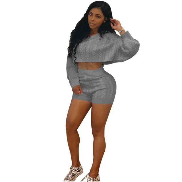 5e8aa1edf0 Autumn Winter Women Casual Tops And Biker Shorts Two Piece Set Sexy Outfits  Sweater Club Knitted Suit Tracksuit