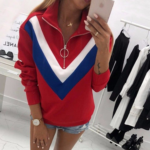 3175580af0a ... 2018 Autumn Winter Fashion Women Patchwork Long Sleeve Hoodies  Sweatshirt Clothes Casual Zipper Pullovers Sweatshirts