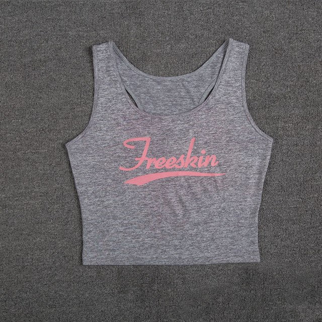e9e8070a4b0 Sleeveless Solid Color Letters Printing Crop Tops Women Fitness Gym  Clothing Quick Dry Running Fitness Sport Yoga T-Shirt