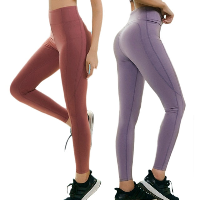 e4108b47aa Women Solid High Waist Sports Yoga Leggings Push Up Nylon Elastic Waist Dry  Fit Pants Jogging Workout Yoga Trousers