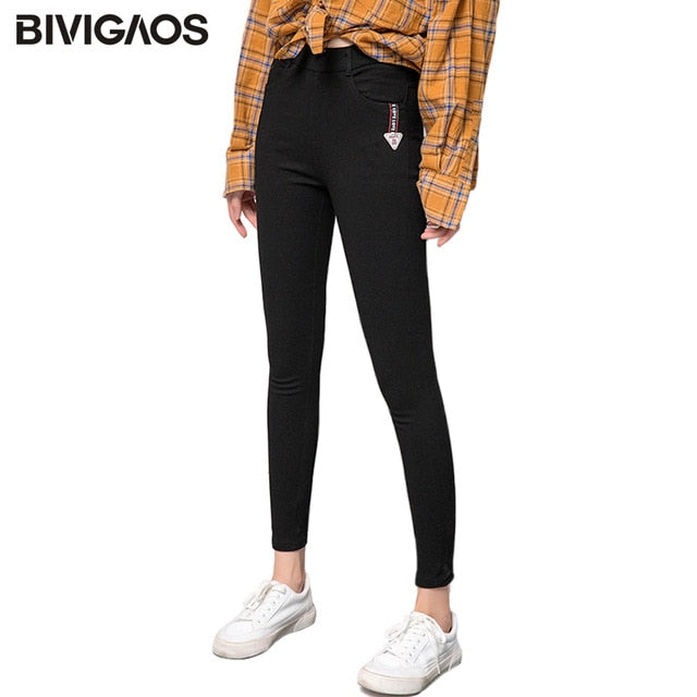 4366ea7d89fe 2018 Autumn Leggings Women S Pocket Letters Labeling Ninth Pencil Pants  Jeggings Elastic Thin Skinny Black Leggings