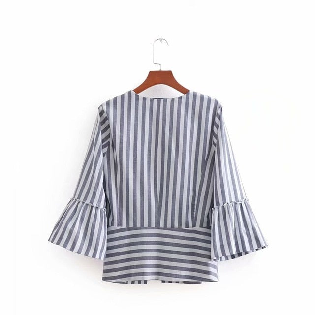 ef9f9a8144d53 Bella 2018 Summer Vintage O Neck Flare Sleeve Striped Cardigan Thin Jacket  Ladies Patchwork Outwear Tops Business Casual Coat
