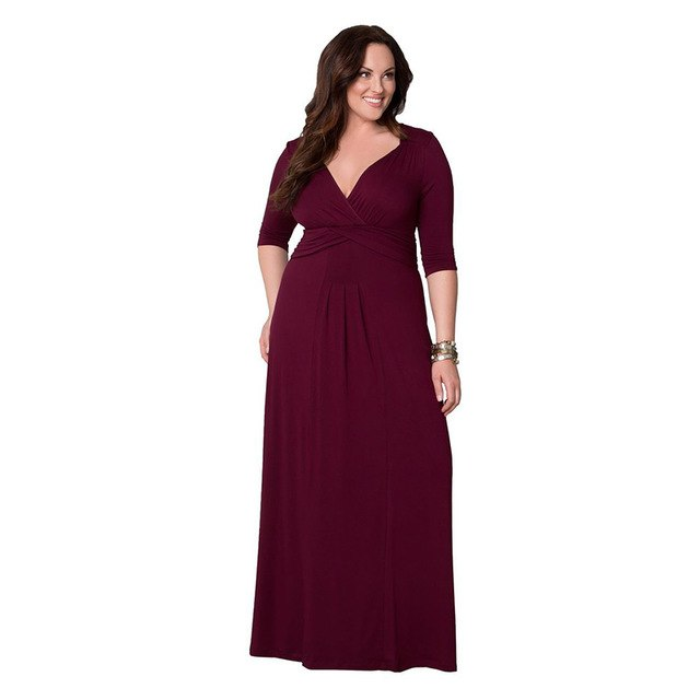 2018 Autumn Plus Size Dresses V-Neck Women Dress Atmosphere Christmas Dress  Max Women Dress