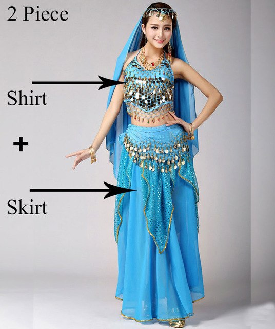 b632d858f4 Belly Dance Costume Set Bellydance Performance Gypsy Indian Dress Dancewear  Coin Belly Dance Bollywood Dance Costumes