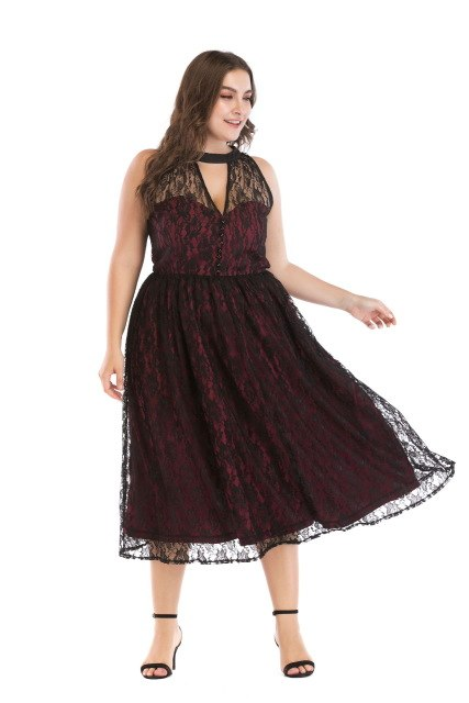 fd8202a8f01 Burgundy Summer Dress 2019 Women V Notch Big Size Lace Mesh A-Line Dresses  Button Work Office Casual Party Swing Vestido