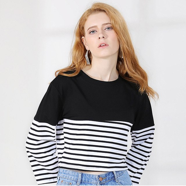 26799230 Women Short Stripe Crop Tops Long Sleeve T-Shirts Cotton T Shirts Casual  Tees Black Blue Cropped Woman Clothing
