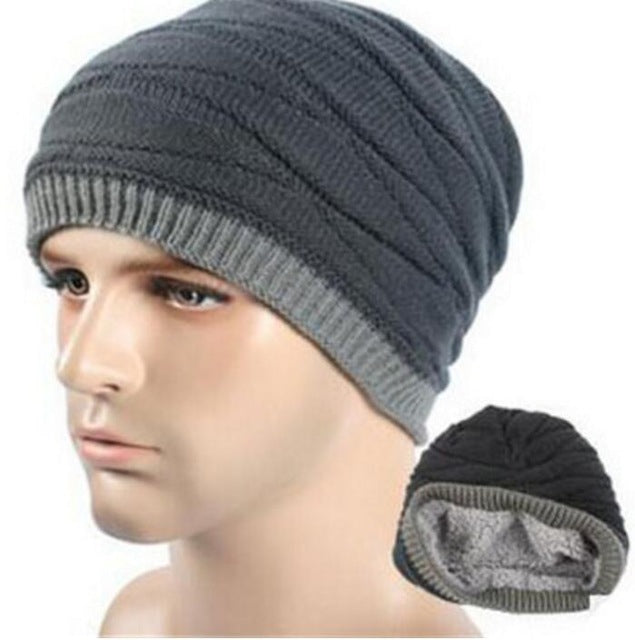 a0823b55 Hats Men Cool Beanies Knitted Wool Solid Color Black Navy Blue Coffee Cap  Winter Women'S Hat Ski Warm Cap M053