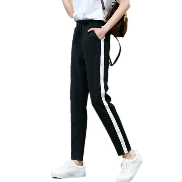 676d3d3ca09 High Waist Striped Pants Women Black Casual Drawstring Loose Trousers Femme Loose  Plus Size Trousers Harem