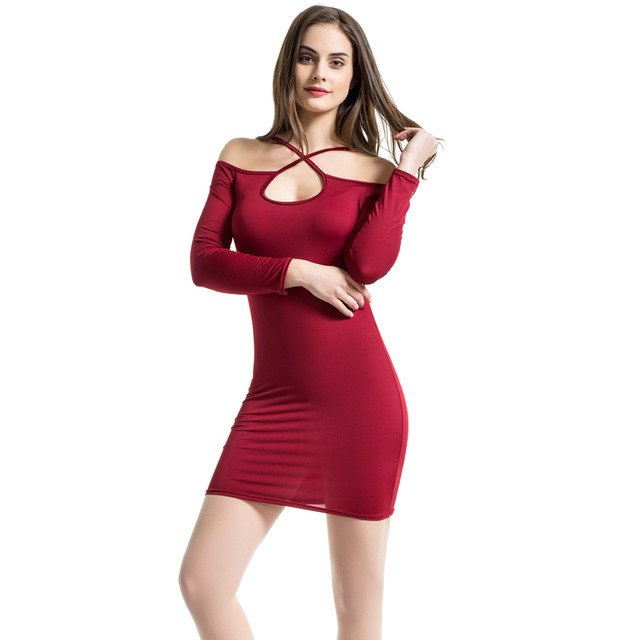 6ea7acfd305 Long Sleeve Hollow Out Mini Dresses Summer Strap Off Shoulder Club Dress  Backless Bodycon Party Pencil Dress