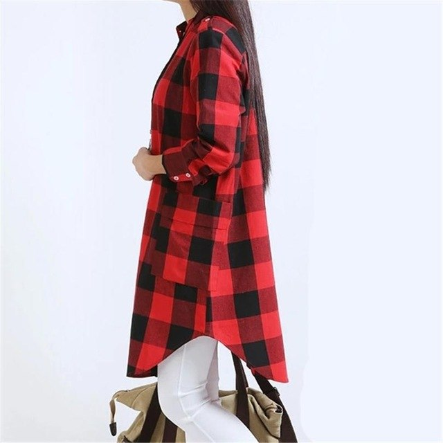 28fc02ab1 Maxi Long Loose Grid Print Shirts Women S Clothing Casual Tops Pockets Plus  Size Streetwear Tshirt Plaid