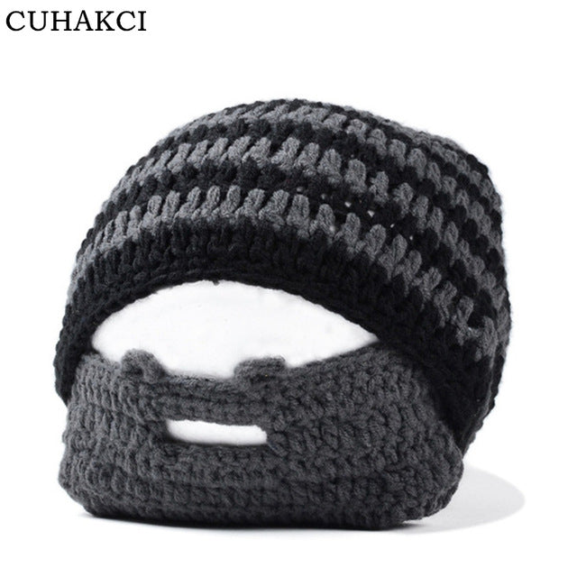8fc112f87ee Men Beanies Cool Punk Winter Warm Hat Crochet Knit Beanie Mustache Face  Mask Ski Snow Caps Stripe Skullies M048