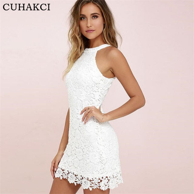 Women Casual Dress Summer Party Night Club Dresses Halter Neck Sleeveless  Sheath Bodycon Lace Mini Dress b434d00a07cb