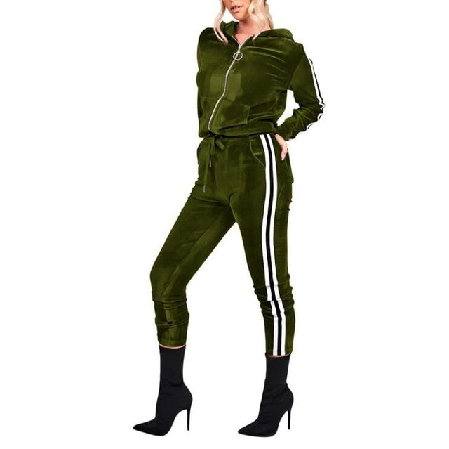 318c2205d Casual Satin two piece set tracksuit for women elegant top and pants set  2018 womens casual sweat suits fitness autumn outfits