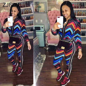 e7c72f41409b8 Colorful Striped Sexy 2 Piece Matching Set Women Front Zipper Long Sleeve  Coat Top+ Bodycon Pant Casual Outfit Autumn Tracksuit